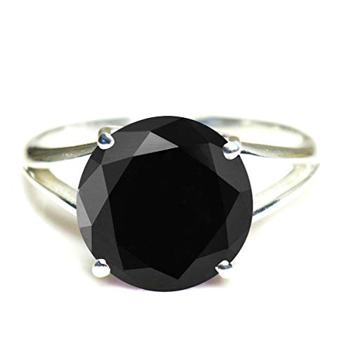 CaratYogi 925 Sterling Silver Natural Black Onyx Round Gemstone Promise Ring Birthstone Fashion Jewelry Wedding Rings for Men and Women Size: W