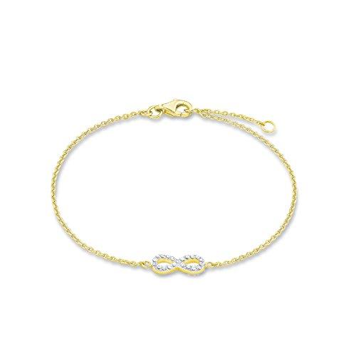 s.Oliver Damen-Armband 17/19 cm Infinity Unendlichkeitszeichen Silber gelbvergoldet Zirkonia weiß