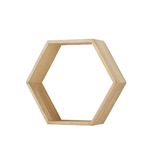 Repisa de estante flotante, repisa de madera maciza hexagonal, decoración de sala de estar, montaje en pared, cruz de cocina, repisa de madera de repisa, 39 × 45 cm,Natural,S