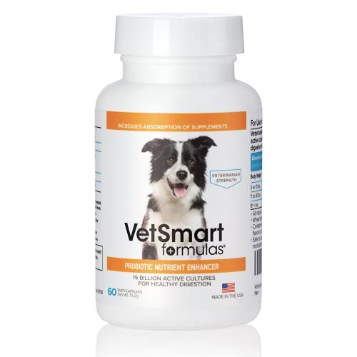 VetSmart Formulas Pet Probiotics for Dogs Supplement - Supports Digestive Enzymes for Nutrient Absorption - 15 Billion Active Probiotic Cultures Attack Inflammation to Prevent Infection