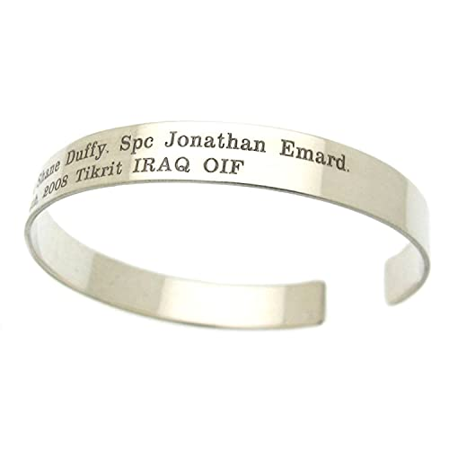 Custom Military Memorial Bracelet - Personal Messages Bracelet - Freedom Kia Cuff - veteran bracelets - pow Mia bracelet.