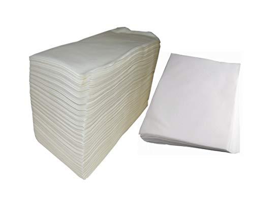 Spun-Lace Lot de 100 serviettes jetables 40 x 80 cm + serviettes de manucure 30 x 40 cm 100 unités blanches Total 200 unités