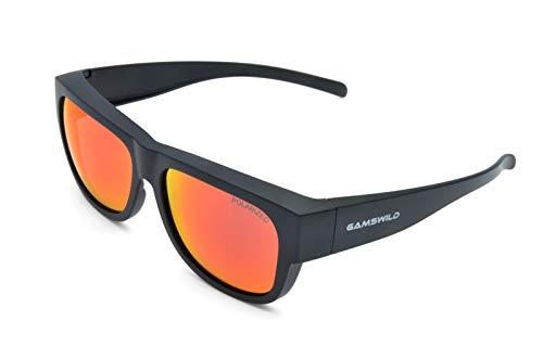 Gamswild WS6032 Überbrille Sonnenbrille Sportbrille Damen Herren Fahrradbrille Unisex | blau | rot-orange | grün, Farbe: Rot Orange
