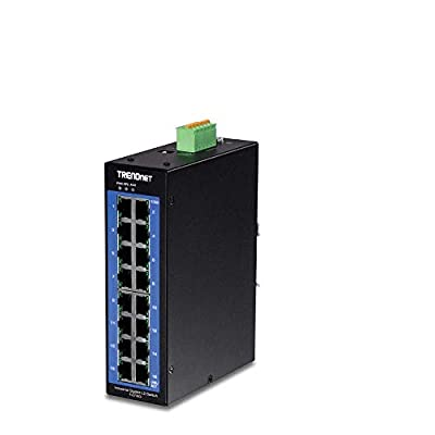 TRENDnet 16-Port Industrial Gigabit L2 Managed DIN-Rail Switch, TI-G160i, Layer 2 Switch, 16 x Gigabit Ports, 32Gbps Switching Capacity,IP30,Network Ethernet Gigabit Managed Switch,Lifetime Protection