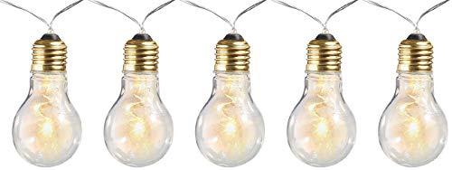 Lunartec Glühbirne Batterie: Party- & Deko-Lichterkette, 5 LED-Glühbirnen, Batteriebetrieb, 150 cm (Lichterkette Glühbirnen Batterie)