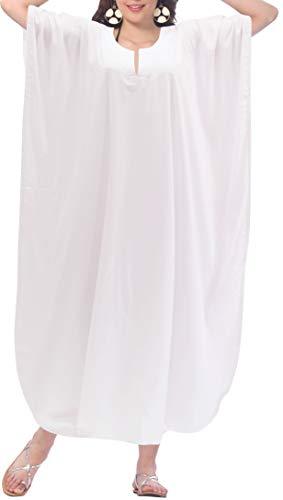 LA LEELA Halloween Mujeres caftán Rayón túnica Sólido Plain Kimono Libre tamaño Largo Maxi Vestido de Fiesta para Loungewear Vacaciones Ropa de Dormir Playa Todos los días Cubrir Vestidos Blanco_F948