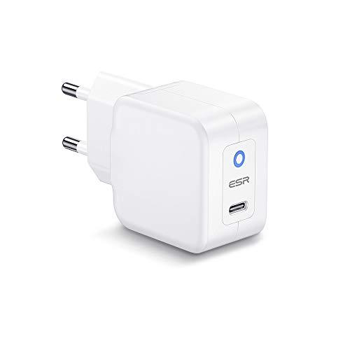 ESR Caricatore da Muro Mini PD 20W [USB-C Ricarica Rapida] Compatible con iPhone 12 Mini/12/12 Pro/12 PRO Max/SE/11/11 PRO/XS/XR, Galaxy S20/S10/S9/Note 20, iPad 8/Air 4/PRO 2020, Airpods PRO, Switch