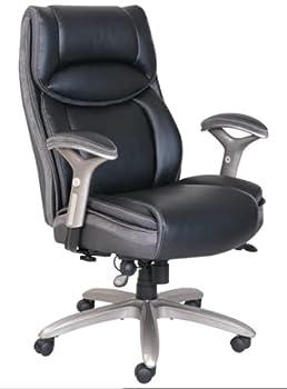 Serta Smart Layers Jennings Big and Tall Executive Bonded Leather High-Back Chair Black/Slate