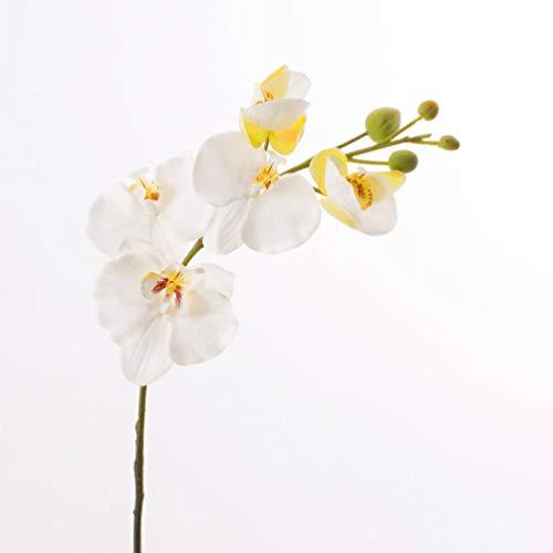 artplants.de Set 2 x Rametto di Orchidea phalaenopsis Artificiale in Fibra Tessile, Bianco-Crema, 80 cm - 2 pz di Orchidea Finta/Fiore Artificiale