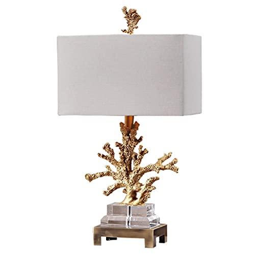 Lámpara de escritorio para sala de oficina Coral Crystal Lámpara de mesa de noche Luxury Simple Messide Messide Lámpara Dormitorio Decoración de la cama Lámpara de cama Creativa Estudio de la sala de