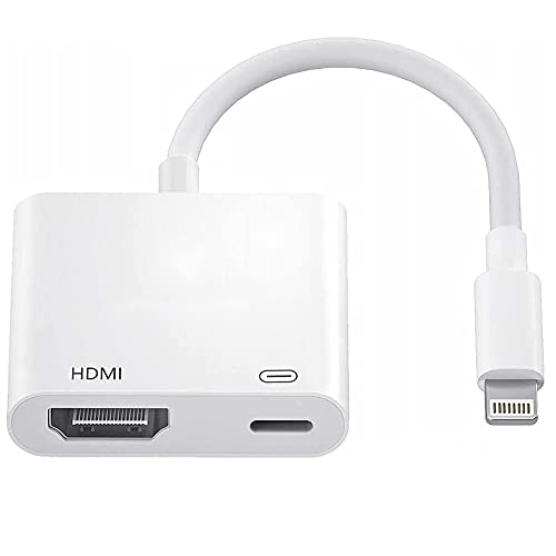 Lightning to HDMI Adapter for iPhone iPad, Apple MFi Certified 1080P Lightning to Digital AV Adapter Sync Screen Converter with Charging Port for iPhone iPad HDMI Converter to HD TV Projector Monitor
