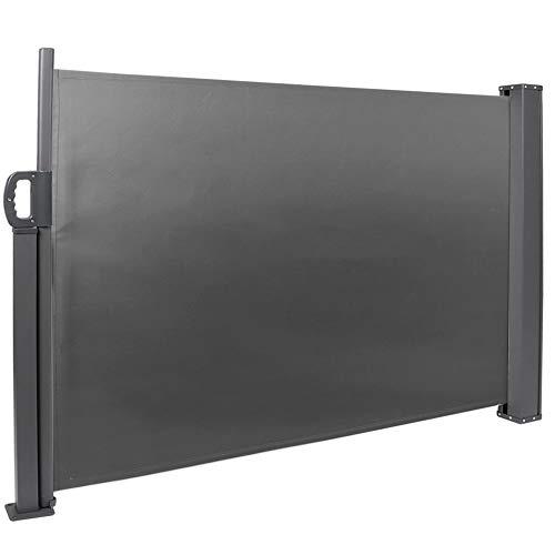 Wakects Seitenmarkise, einziehbar, Sonnenschutz für Privatsphäre, seitliche Markise, für den Außenbereich, ausziehbar, 100 x 300 cm (Dunkelgrau)