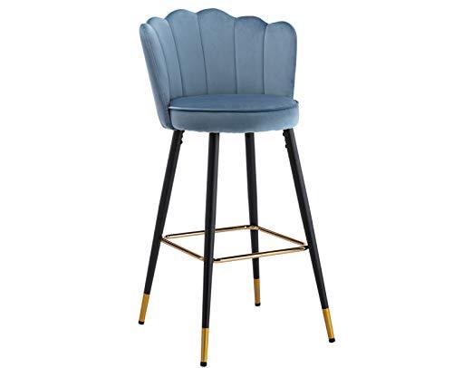 CIMOTA - Taburete de bar de terciopelo moderno para cocina con respaldo de 78,7 cm de altura, silla de comedor para bar en casa, azul neblina, 1 unidad