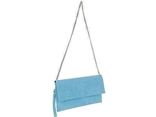 scarlet bag | Clutch Tasche Unterarmtasche Abendtasche Umhängetasche aus echtem Wildleder | Damen Handtasche; 31 x 17 x 1 cm (Hellblau)