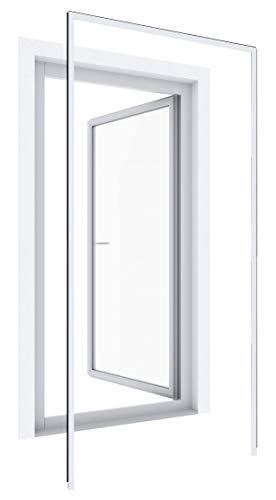 Windhager Insektenschutz Montagerahmen Expert, bohrfreier Insektenschutzrahmen für Türen, Klemmzarge, individuell kürzbar, 125 x 245cm, weiß, 04319