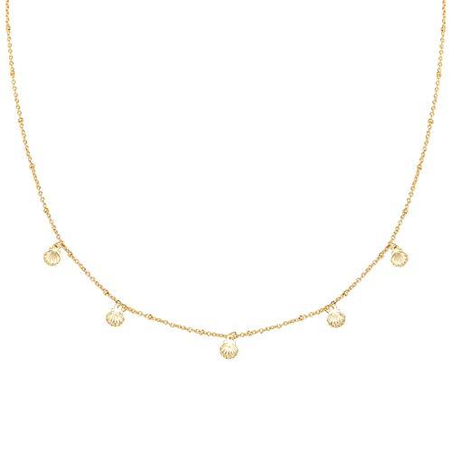 Yehwang EST. 2008 Premium design dames modesieraad - vergulde halsketting met zoete kleine schelpen - ketting La Playa - nikkelvrij