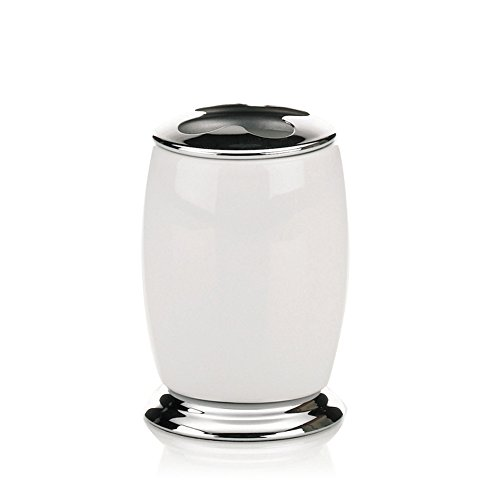 Kela 20869, Zahnbürstenhalter, Keramik/Edelstahl, Ø 7 cm, H 11 cm, Scarlett, Weiß