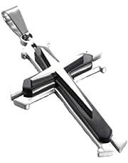 lulongyansf Collar de Cadena de la Cruz del Acero Inoxidable Colgante de los Hombres (Negro)