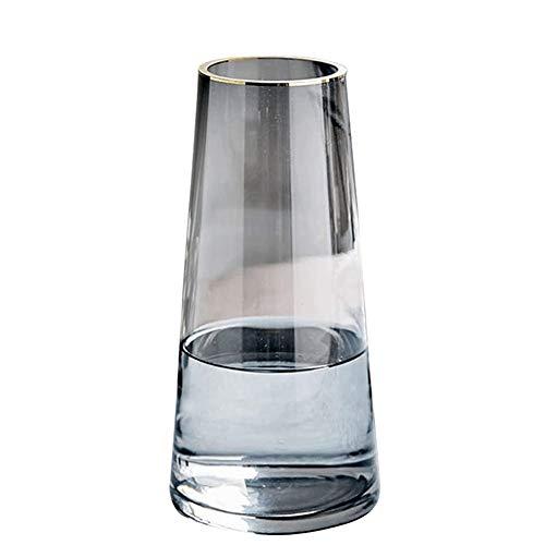 V-Shine Glas-Blumenvase, Handarbeit, kreative Blumendekoration, Ornamente, moderne kristallklare Glasvase für Tisch, Tafelaufsatz, Küche, Büro, Wohnzimmer, Hochzeitsdekoration (Kristallgrau-mittel)