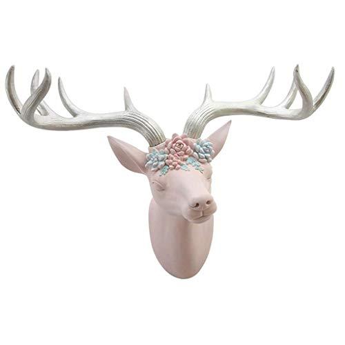 JYTBD Yun Tao Cabeza de los Ciervos colgados de la Pared Rosa Cabeza de Animal Azul Pendiente Resina 57,5 * 24 * 50cm estatuas (Color: Rosa) (Color : Pink)