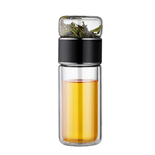Infusor de té de vidrio – Taza de viaje de 7 onzas con colador, botella de té de doble pared para té de hojas sueltas, frutas y café frío (color: negro, tamaño: 280 ml)