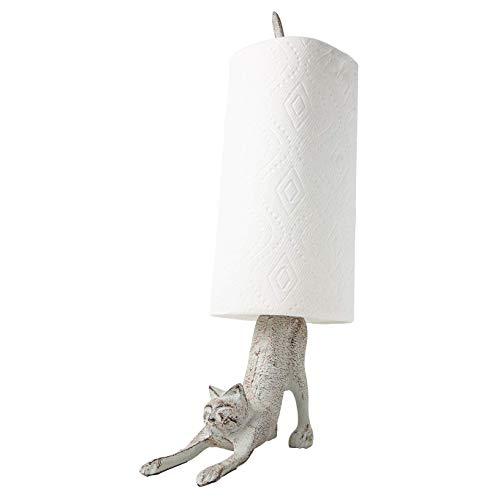 Comfify Portarrollo de Hierro Fundido, diseño Gato de Yoga, para Papel higiénico o de Cocina Color Blanco