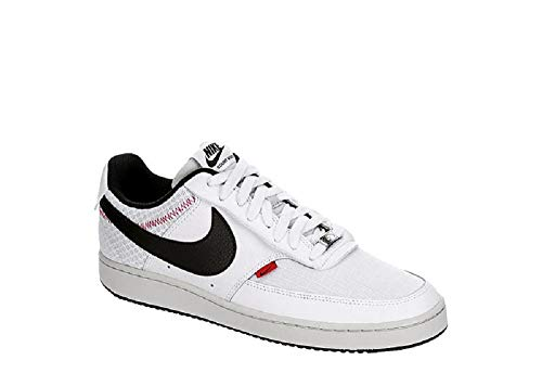Nike Mens Court Vision LO Prem Basketball Shoe, White/Black-Photon Dust-Gym Red, 44 EU