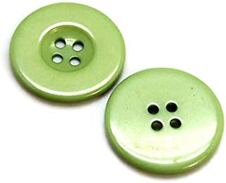 PEPPERLONELY 48PC Green Flat Round 4 Holes Resin Buttons, 23x3mm(15/16x1/8 Inch)