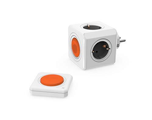 Regleta Multi-Cubo Remote Original, Set con Power-Remote, ladrón de 4 Salidas con Mando a Distancia, 230V Schuko, Gris/Blanco/Naranja