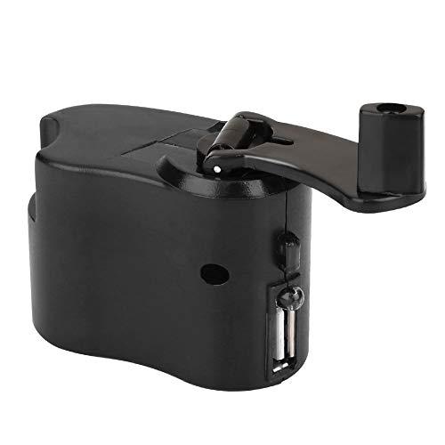 Haihui Cargador USB de mano para generar energía manual de emergencia al aire libre, herramienta de supervivencia de camping, senderismo, ABS, rotación en el sentido de las agujas del reloj