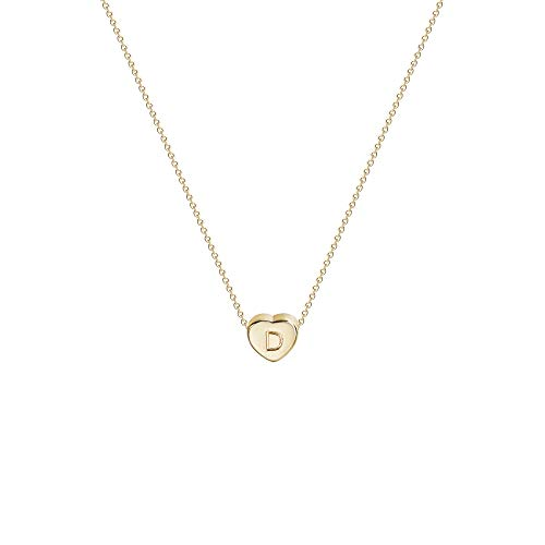 Tiny Gold Initial Heart Necklace-14K Gold Filled Handmade Dainty Personalized Heart Choker Necklace For Women Letter D
