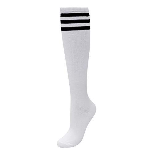 CHIC DIARY Kniestrümpfe Damen Mädchen Fußball Sport Socken College Cheerleader Kostüm Strümpfe Cosplay Streifen Strumpf, Weiß Schwarz Streifen, Einheitsgröße