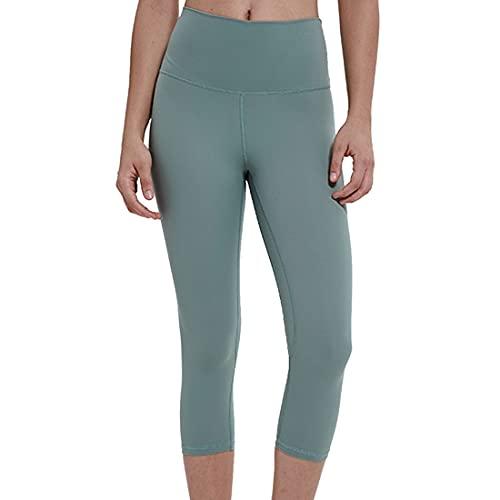 PPPPA Pantalones de yoga con bolsillos, leggings de entrenamiento para correr con bolsillos de cintura alta con para recortados de cintura alta de 3/4 de largo con panel de control Pantalones