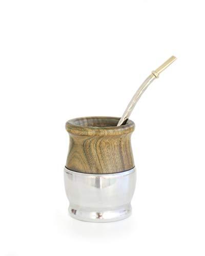 BALIBETOV Mate Argentino - Set de Mate de Madera de Palo Santo Envuelto en Aluminio - Producto Natural Hecho a Mano con Bombilla (Sorbete) para Yerba Mate (Madera con Base Aluminio)