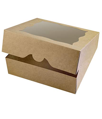 15-Pack 10'x10'x3'Brown Bakery Boxes with PVC Window for Pie and Cookies Boxes Large Natural Craft Paper Box 10x10x3inch (Brown, 15)