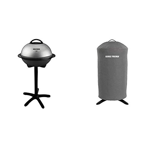 George Foreman 15-Serving Indoor/Outdoor Electric Grill, Silver, GGR50B & GFA0240RDCG Round Grill Cover, Gray