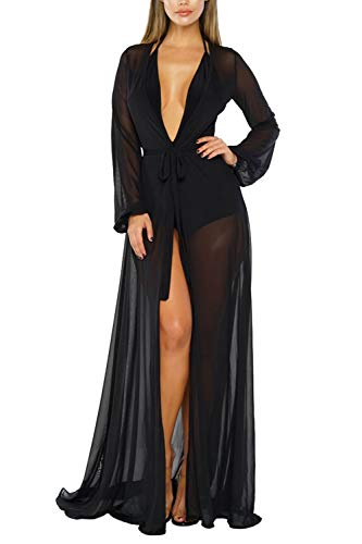 Pink Queen Women's Long Sleeve Flowy Maxi Bathing Suit Swimsuit Tie Front Robe Cover Up Black 2XL