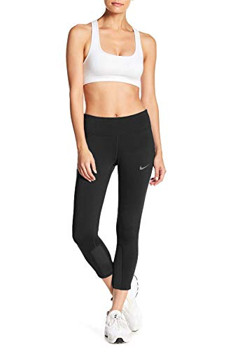 Nike Women's Power Epic Run Cropped Pants Running Tights (Medium, Black)