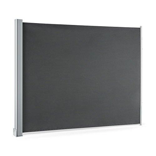 blumfeldt Cosmo - Balkonmarkise, Rollo, Markise, Seitenmarkise, 150 x 200 cm, wetterbeständig, wasserabweisend, UV-beständig, Vollkassette, Aufrollmechanismus, anthrazit