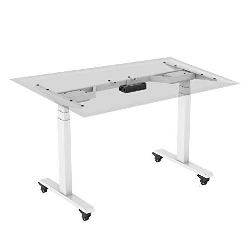 HOKO® Ergo-Work-Table Höhenverstellbarer Schreibtisch, Tischfüße Premium Weiß,...