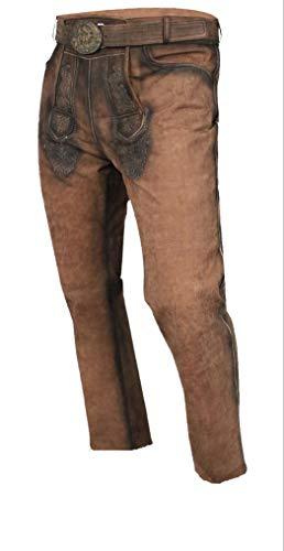MAGS World24 Lange Lederhose Trachtenhose lang in antik kastanien braun mit Gürtel und dezenter Stickerei Gr. 46-58