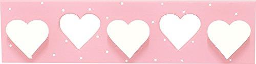 AFAEPS Sonpó Online - Modelo AFA26 - Perchero Triple Infantil de Pared Hecho a Mano de Manera Artesanal - Color Rosa con puntitos Blancos