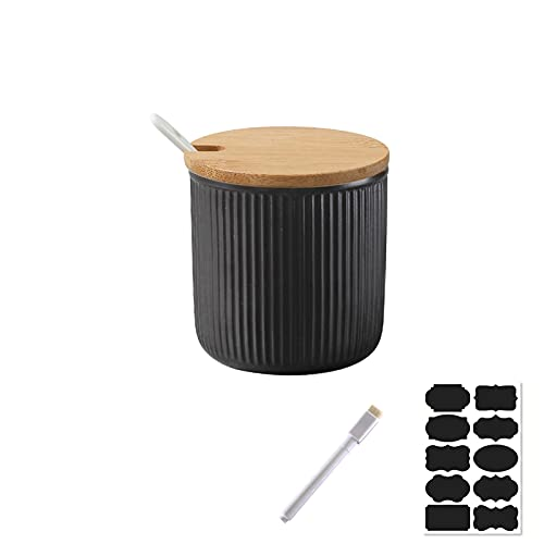 Rummyluck Keramik Zuckerdose Schüssel Gewürzgläser mit Löffel & Deckel aus Bambus für Servieren Zucker, Pfeffer, Gewürz, uvm (8*8*8 CM, 240ML)
