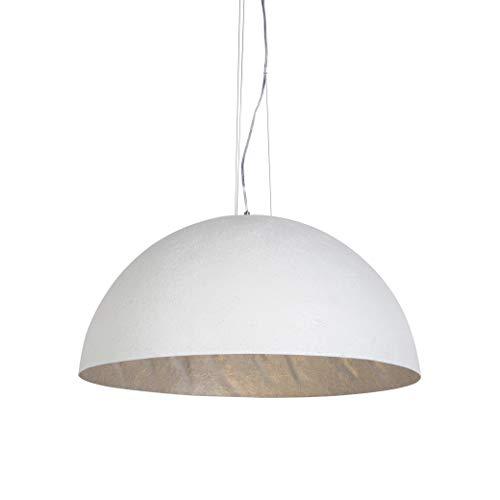 QAZQA - Moderne Hängelampe   Pendellampe   Halbrund Pendelleuchte   Esstisch   Esszimmer weiß 70 cm - Magna  3-flammig   Wohnzimmer   Küche - Kunststoff Rund - LED geeignet E27