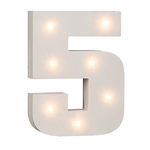 schenken-24 Beleuchtete Zahlen (0-9) mit LED-Birnchen, weiß, ca. 16 cm Höhe, Zahlen:Zahl 5
