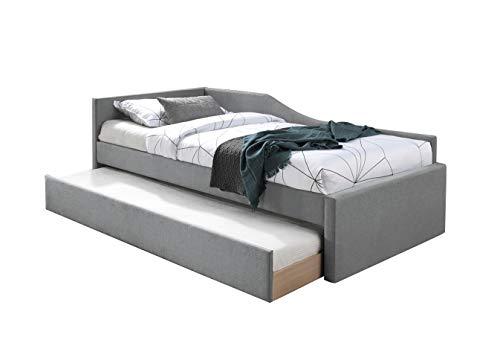 Meubletmoi - Juego de cama nido individual de tela gris + 2 colchones de 90 x 200 cm, gran confort – Ulysse