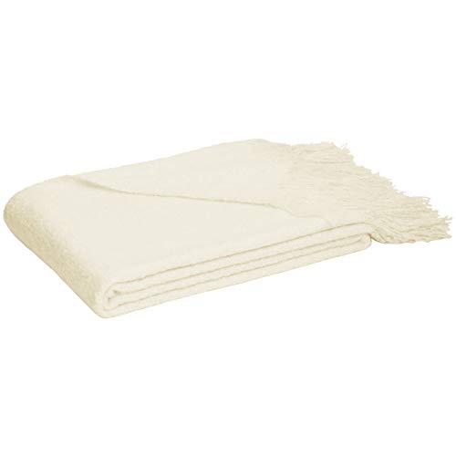 AmazonBasics - Decke mit Fransen, Synthetik-Angorawolle, Weiß, 130 x 170 cm