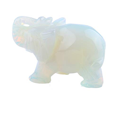lgw crystal Carved Natural Moonstone Gemstone Elephant Healing Guardian Statue Figurine Crafts 2 inch (Moonstone)