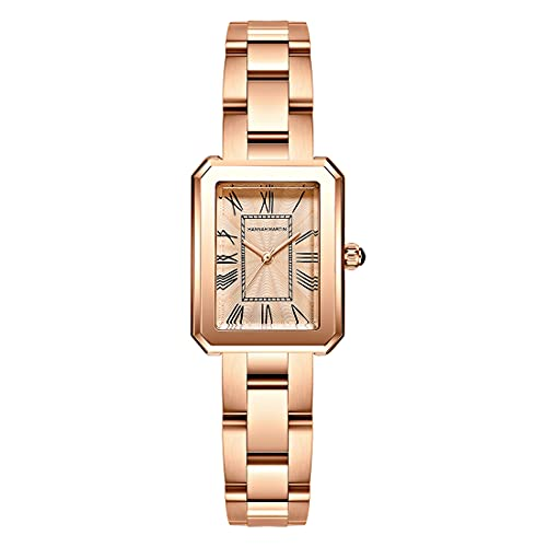 Allskid Mujeres Relojes Rectangular Números Romanos Marcar Plata Oro Rosa Acero Inoxidable Correa de Reloj Elegante Cuarzo Relojes de pulser (34mm, Oro Rosa)