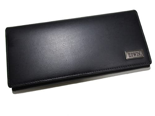 (エドウィン) EDWIN ブランド メンズ 財布 長財布 イタリアンレザー かぶせタイプ ブラック しっかりしたレザーにおしゃれでシンプルなメタルロゴ プレゼントに最適(The Little)